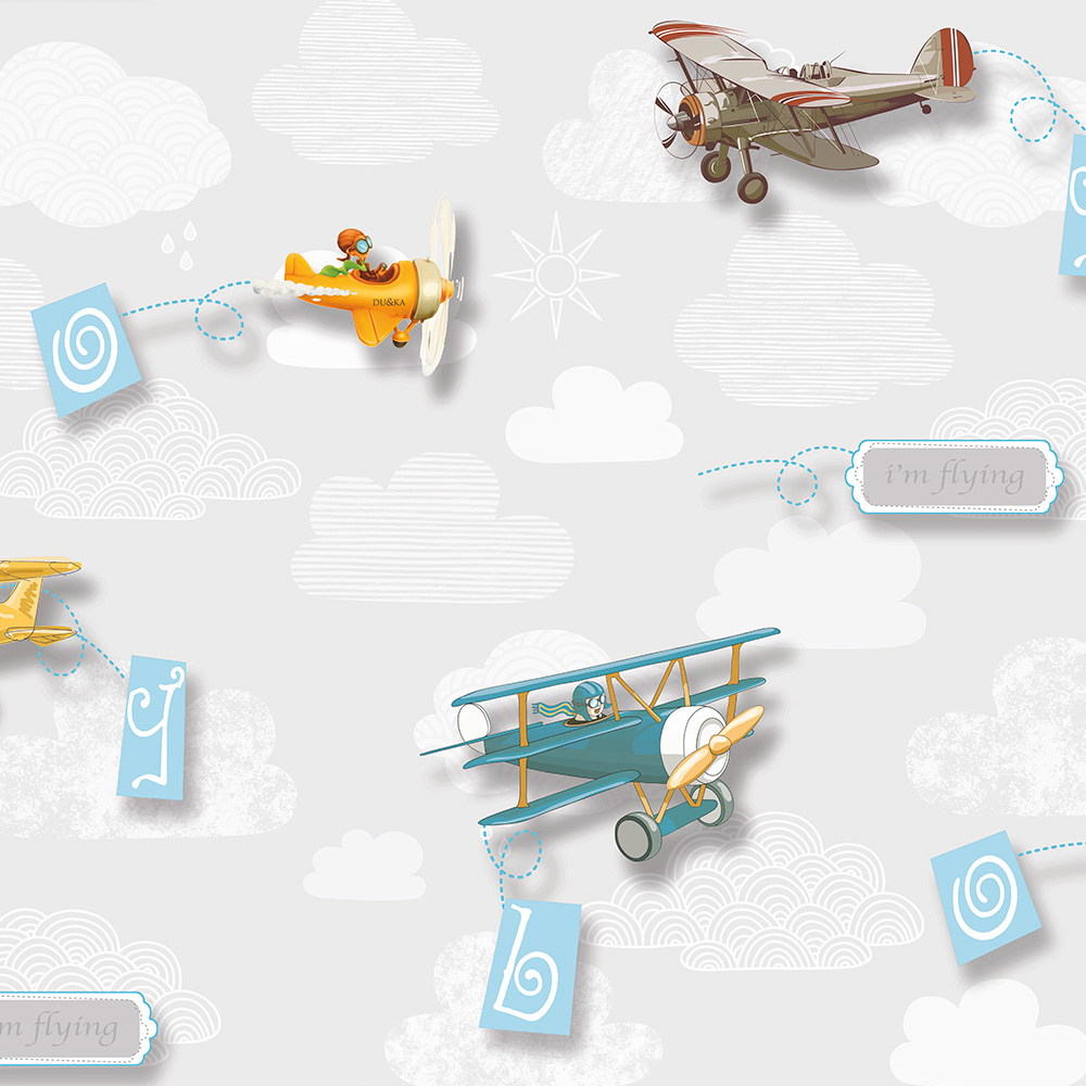 Duka Duvar Kağıdı Kids Collection Air Craft DK.15157-1 (16,2 m2)