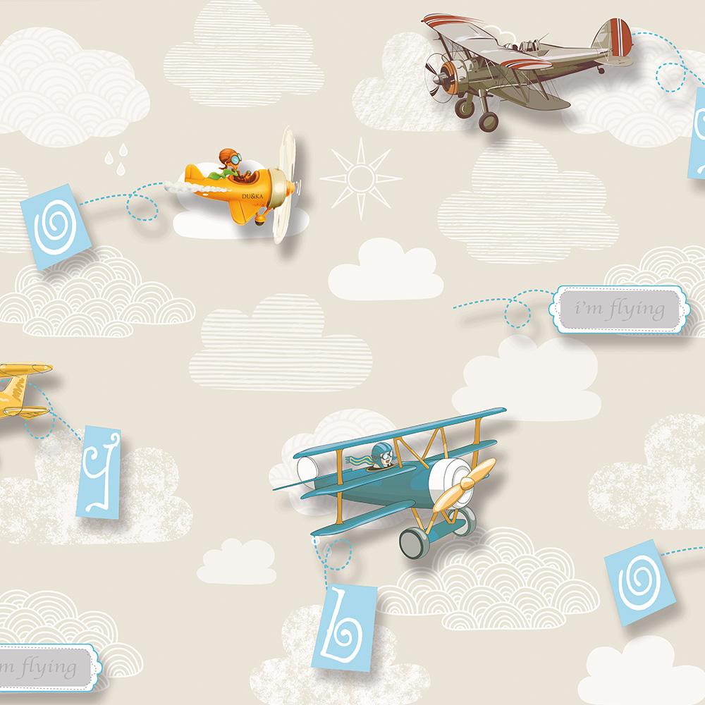 Duka Duvar Kağıdı Kids Collection Air Craft DK.15157-2 (16,2 m2)
